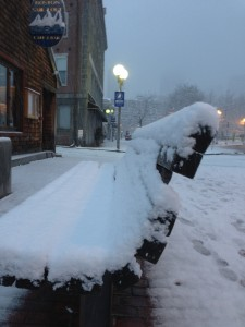 Bench and Sail Loft in Snow on Atlantic Avenue - Photo by Matt Conti