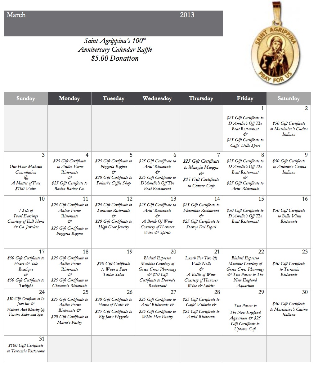 Monthly Calendar Raffle : March calendar style raffle for th anniversary of st