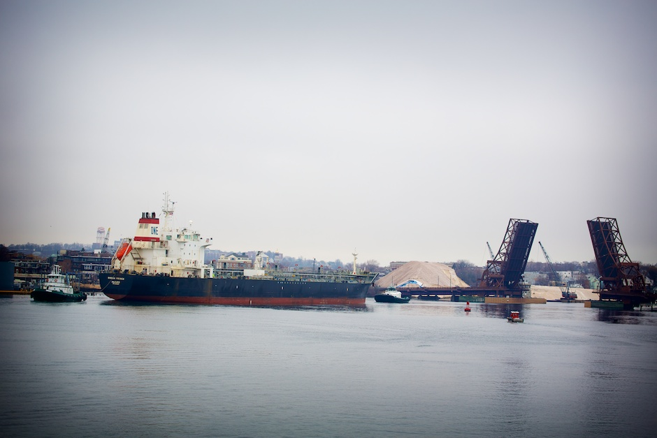 Oil Tanker Through Bridge