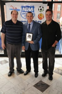 Representing the St. Anthony's Feast Society Aaron Michlewitz with Sports Coordinator John Romano (left) and Commissioner Ralph Martignetti (right)