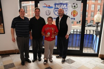 Representing the Tomasone Club Tigers, DJ DiCenso (red shirt) and Head Coach Dom Cicenso (right) with Coordinator John Romano (left) and Commissioner Ralph Martignetti (2nd from left)