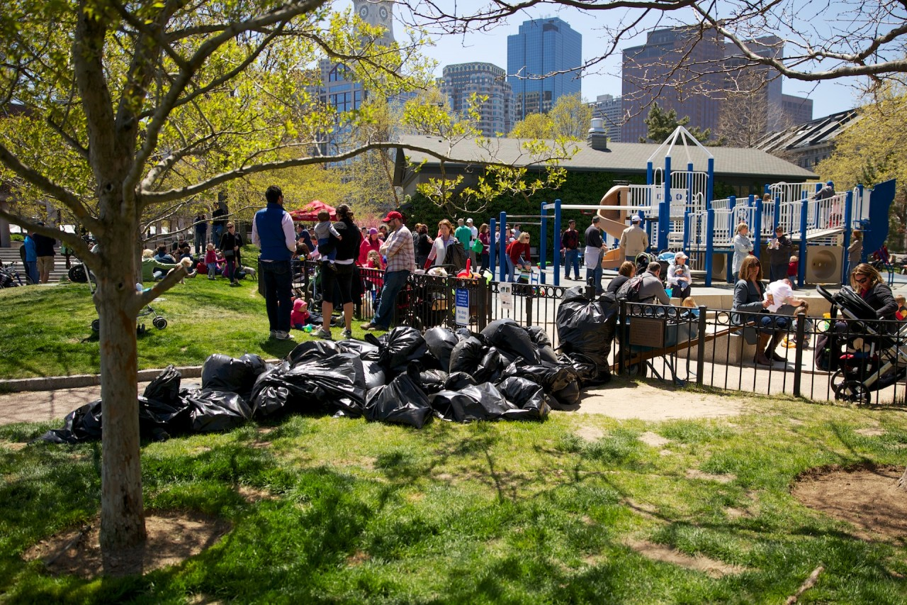 Bags of trash collected at the cleanup
