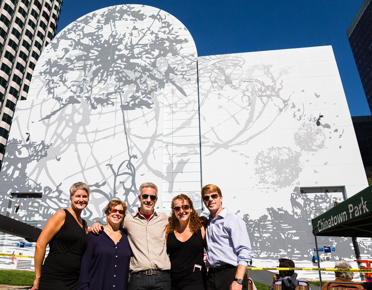 Remanence – Salt and Light (Part II) at Dewey Square on the Greenway with (L-R) ICA Senior Curator Jenelle Porter, Director of the ICA Jill Medvedow, Artist and Creator, Matthew Richie, Signs Unique Tricia O'Neill and Greenway Conservancy COO Jesse Brackenbury (Photo by Matt Conti)