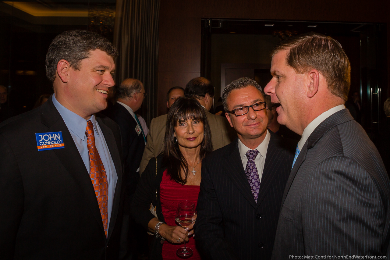 Mayoral Candidates John Connolly (left) and Marty Walsh (right) with Kathy Carangelo and Councilor Sal LaMattina