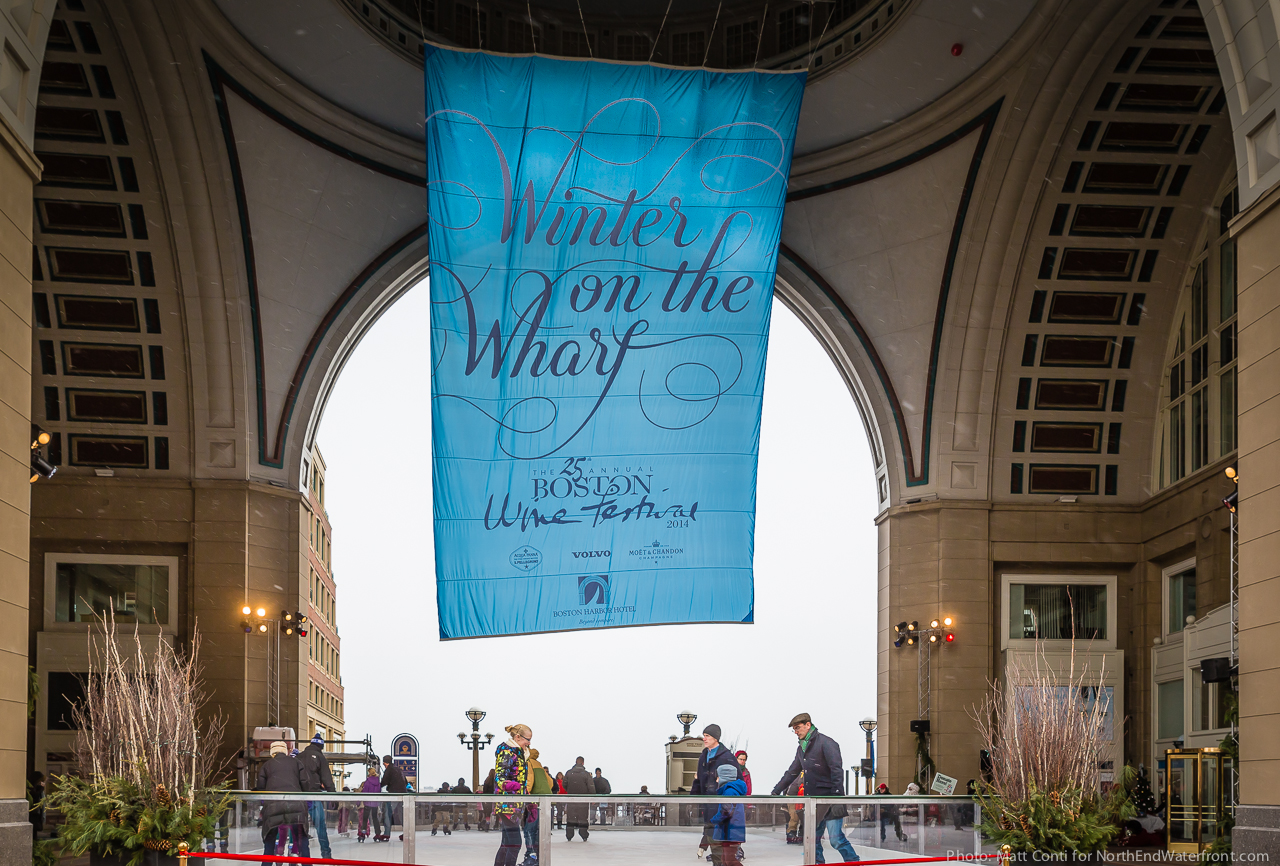 Winter on the Wharf at the Rowes Wharf Rotunda Rink. Photo by Matt Conti
