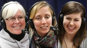 "Karen McLaughlin, Julia Daley and Margaret Betts of St. John School (photo credit from ""The Good Catholic Life"" radio show)"