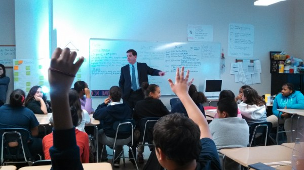 Mayor Walsh takes questions from Eliot students.