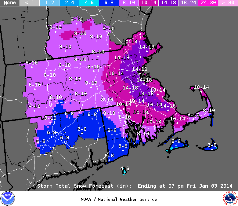 boston snow total map Boston Snow Accumulation Forecast Increased To 14 18 Inches boston snow total map
