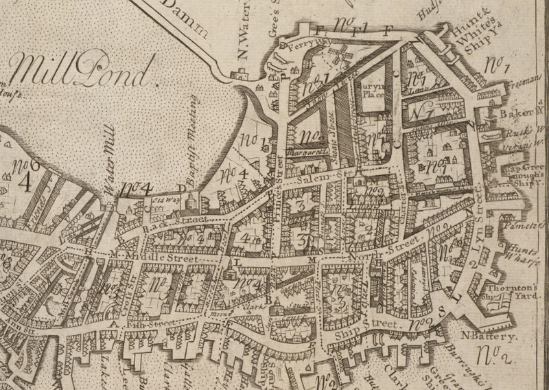 18th century Map of Boston- shows Mill Pond, North End and Vicinity. Map of [1743] Boston, Courtesy of Boston Public Library.