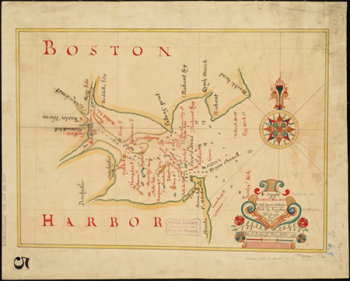 Boston Harbor in New England, [Cyprian Southack, 1769] Photo by  Norman B. Leventhal Map Center at the Boston Public Library.