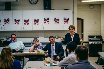 Maura Healey, Candidate for Attorney General speaks to Ward 3 Democrats (Photo by Matt Conti)