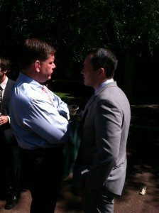 Mayor Marty Walsh and State Rep. Aaron Michlewitz (Photo by Meghan Denenberg)
