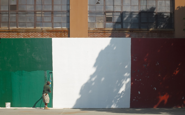 Painting the Italian Flag Wall at the Gassy by Michele