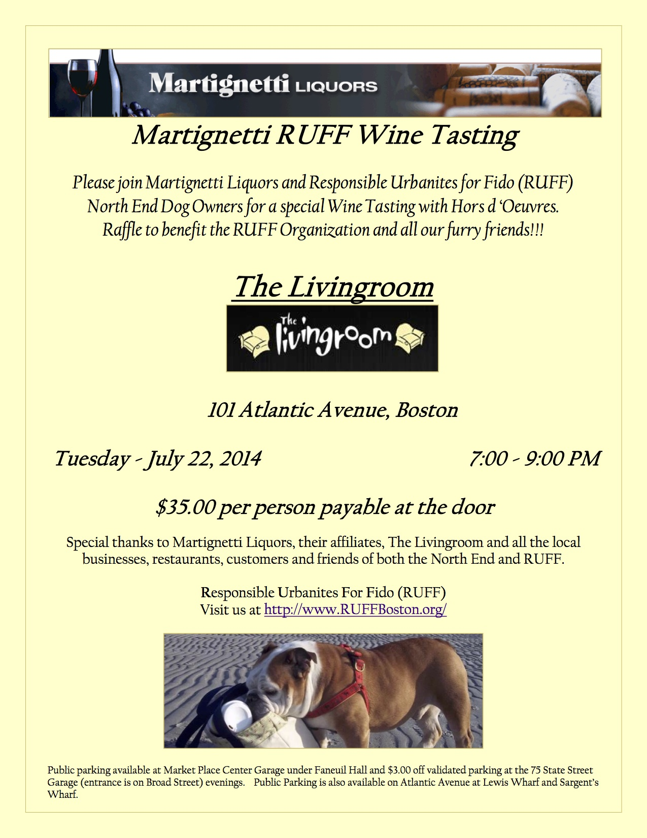Responsible urbanites for fido ruff to hold wine tasting for Living room 101 atlantic ave boston