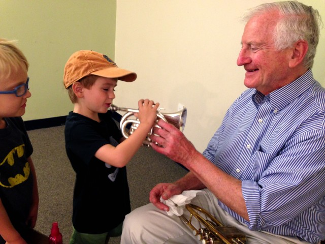 NEMPAC Adult Student and Trumpet Player, Victor Brogna helps out on Brass Day!