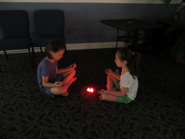 Sawyer Bowen Flynn and Hale McGivern practicing Yoga during Music Theatre Camp
