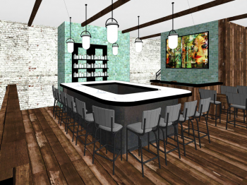 Sushi Rock concept photo shows the upstairs bar.
