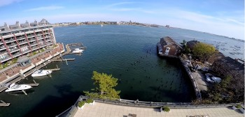 Photos of the waterfront taken from a drone