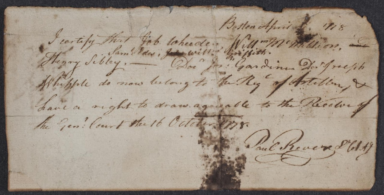 Military Receipt - Paul Revere House