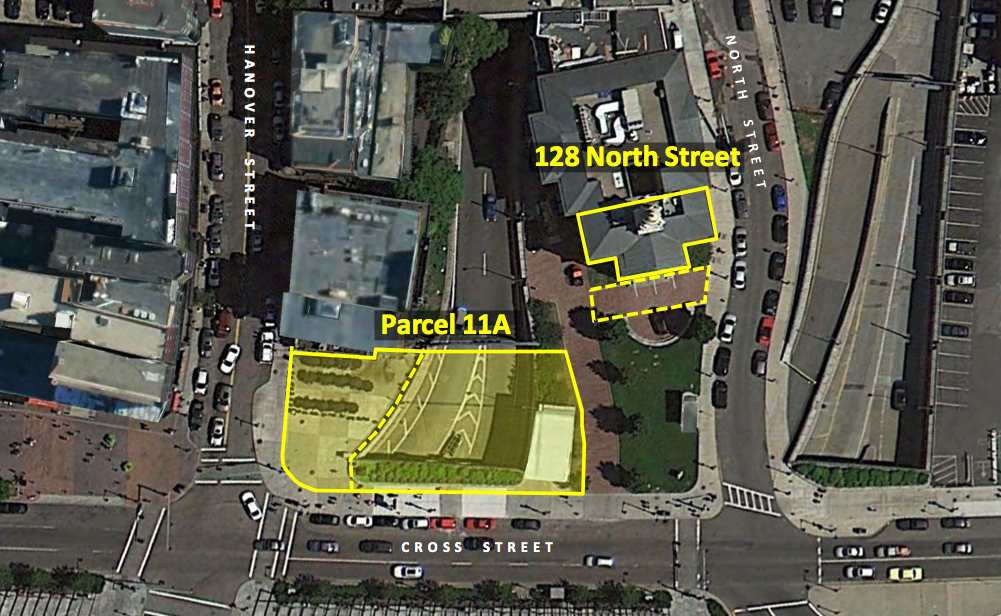 [Pictured] The dotted line area in front of 128 North Street is a pertinent easement in the lease and would be allowed for use of foot traffic and it will not be included in the lease.