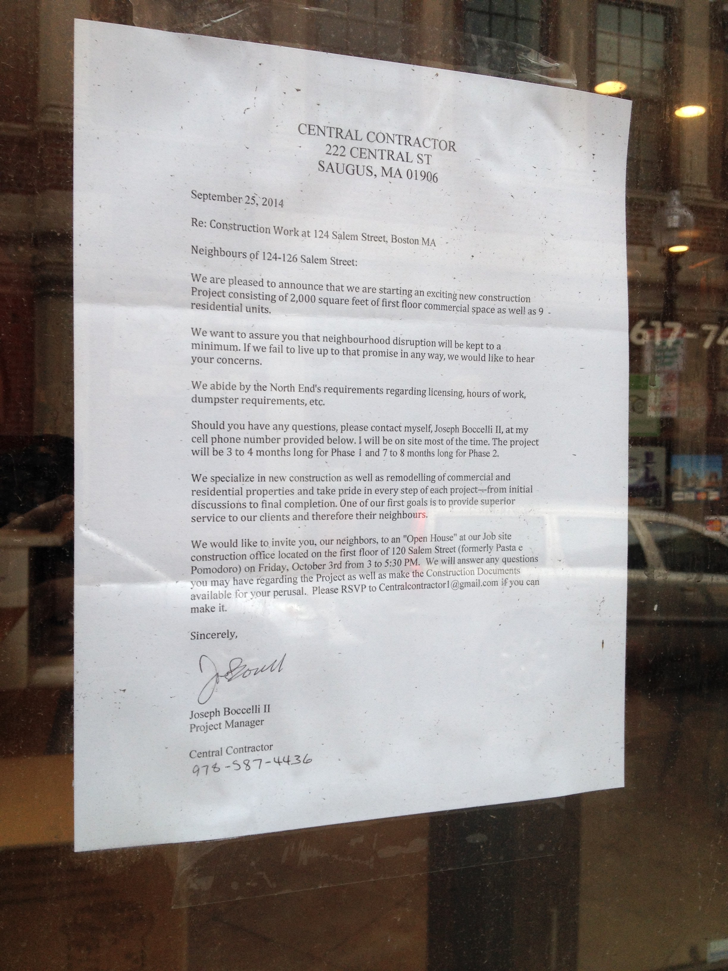 Note on door of 124 Salem St, formerly Pasta e Pomodoro