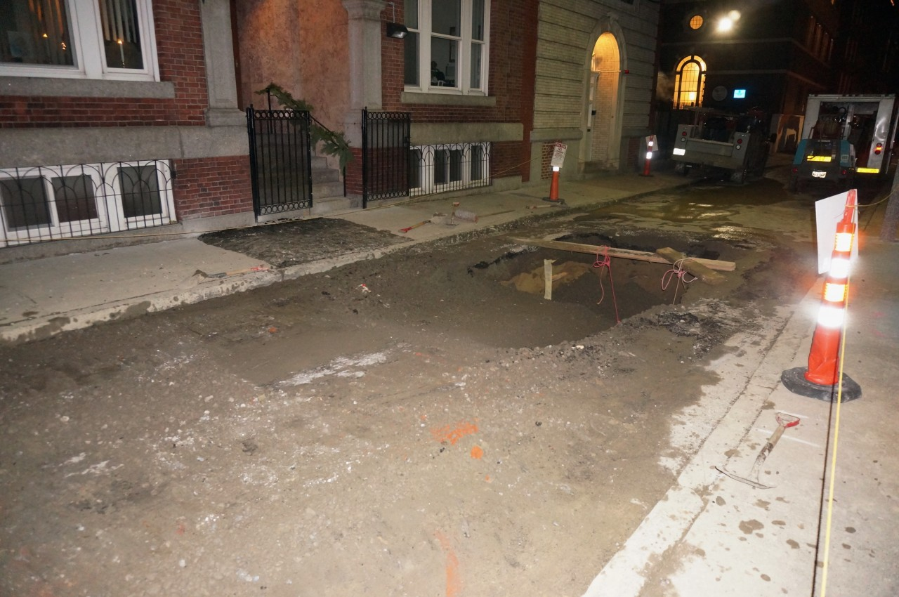 Work continues into the night on North Bennet Street