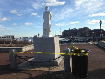 foccp police tape at statue