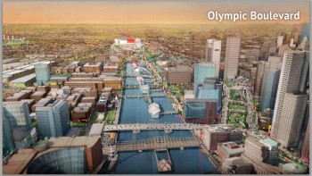 (012115 Boston, Ma) A rendering showing the proposed Olympic Boulavard for the Boston2024 Olympics. Courtesy of Northwind Strategies