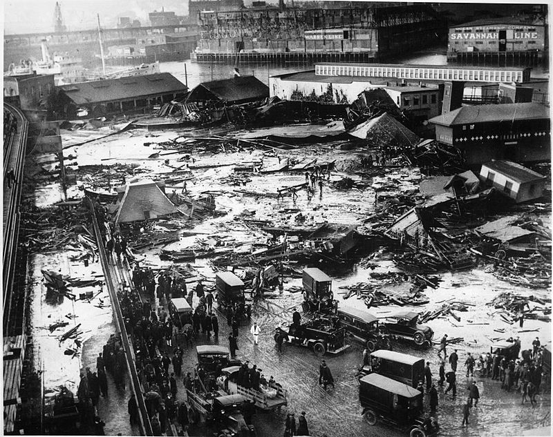 A photo showing the aftermath of the molasses flood in Boston's North End.