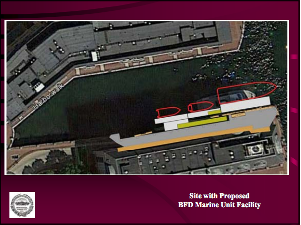 In addition to the 7 feet additional space outward, About 20 feet forward from where the boat is currently parked