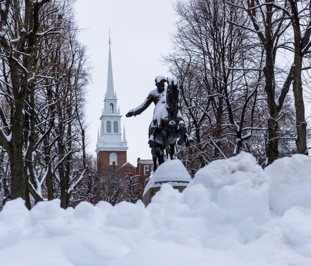 Paul Revere Mall (Prado) is filling up with snow (Photo by Matt Conti)