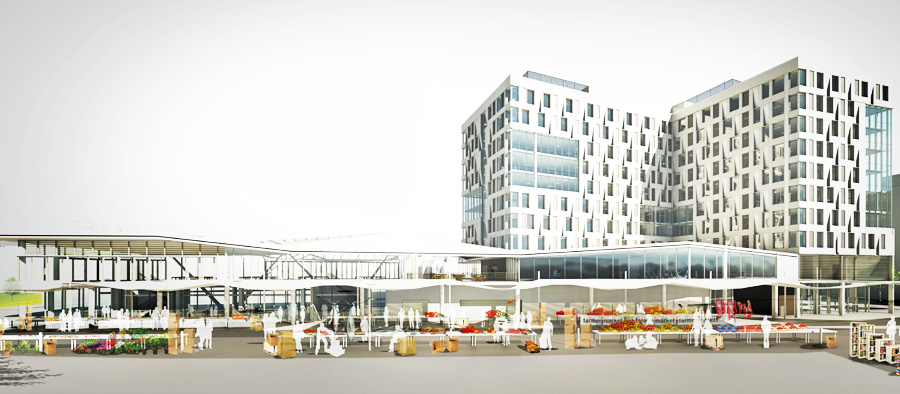 Haymarket Hotel and Market Pavilion rendering view from Blackstone Street and Haymarket vendors. (Normandy / Harbinger)