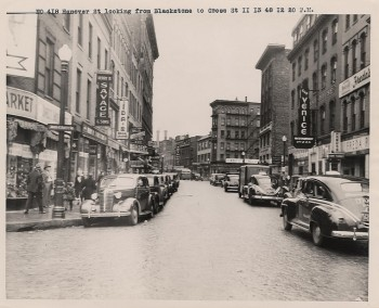 Hanover Street looking from Blackstone to Cross Street in the late 1940's (Boston City Archives)