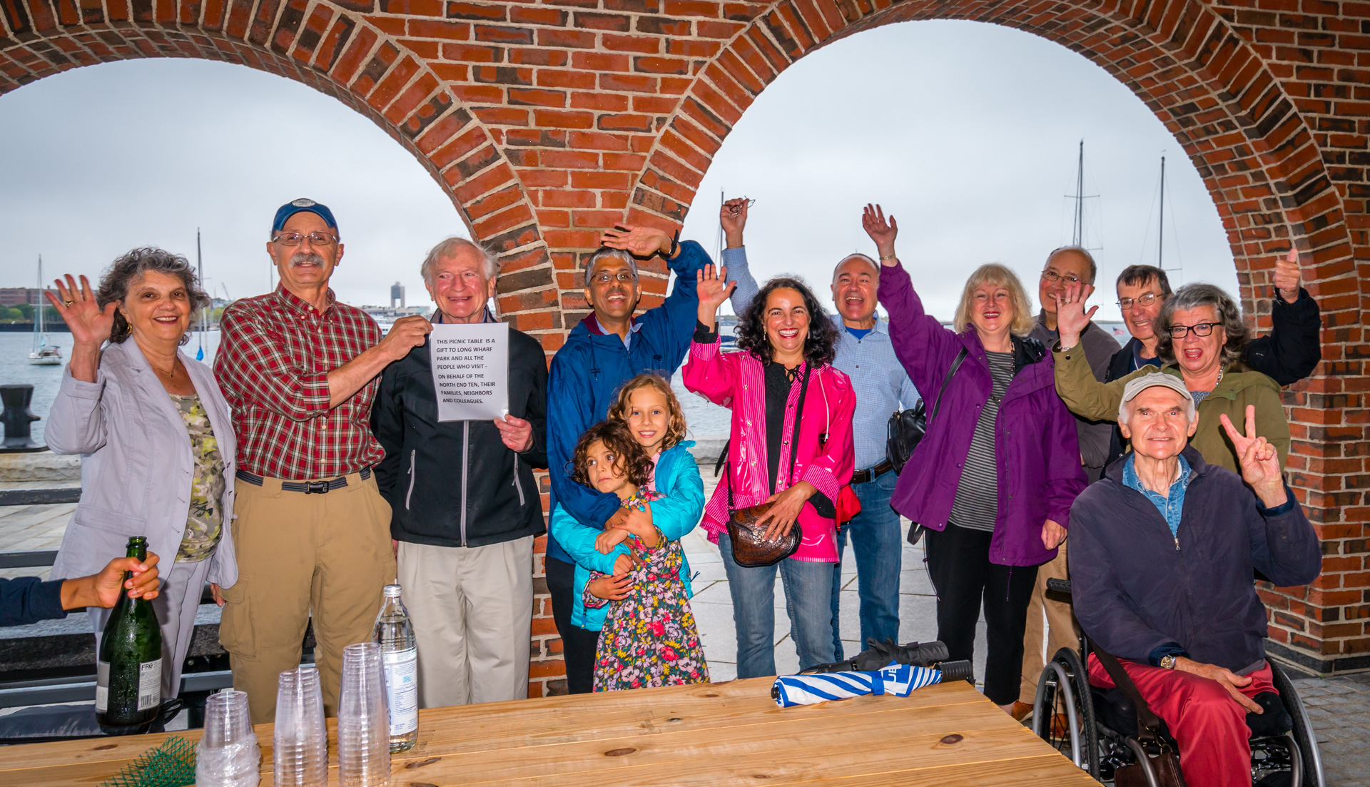 """North End 10"", retired NPS employee Ed Rizzoto and families celebrate Long Wharf as open space (Sept. 2015 after the Federal Court ruling)"