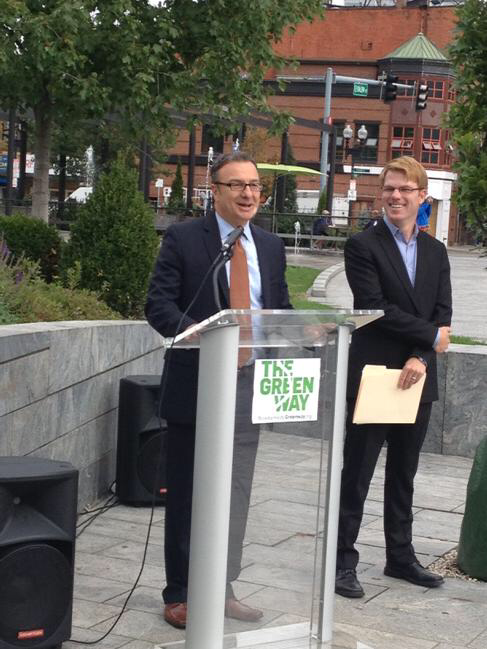 Boston City Councilor Sal LaMattina with Greenway Conservancy Executive Director Jesse Brackenbury (Photo by Adam Castiglioni)