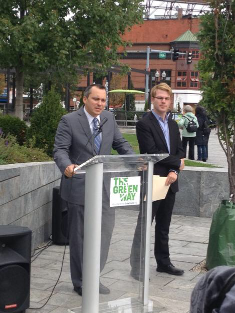 State Rep. Aaron Michlewitz and Greenway Conservancy Exec. Dir. Jesse Brackenbury (Photo by Adam Castiglioni)