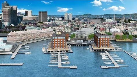 Rendering of hotel proposal at Lewis Wharf - JW Capital Partners
