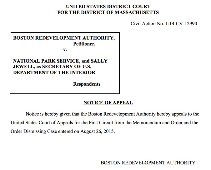 New Federal Court Decision Should Be >> Boston Redevelopment Authority Appeals Federal Court Decision To