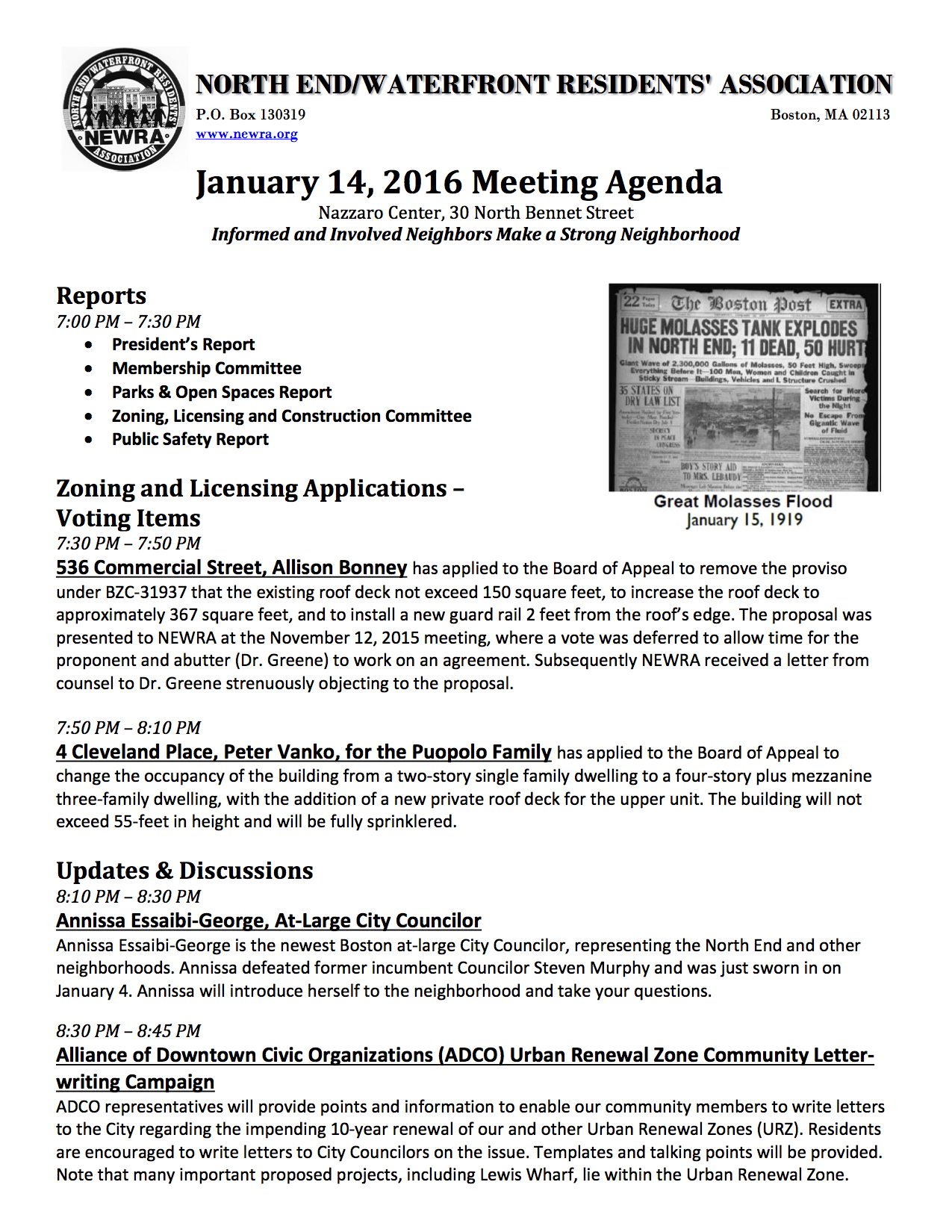NEWRA Meeting Agenda 14 January 2016