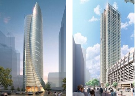 Approved residential and office buildings as the first two phases of the Government Center Garage development