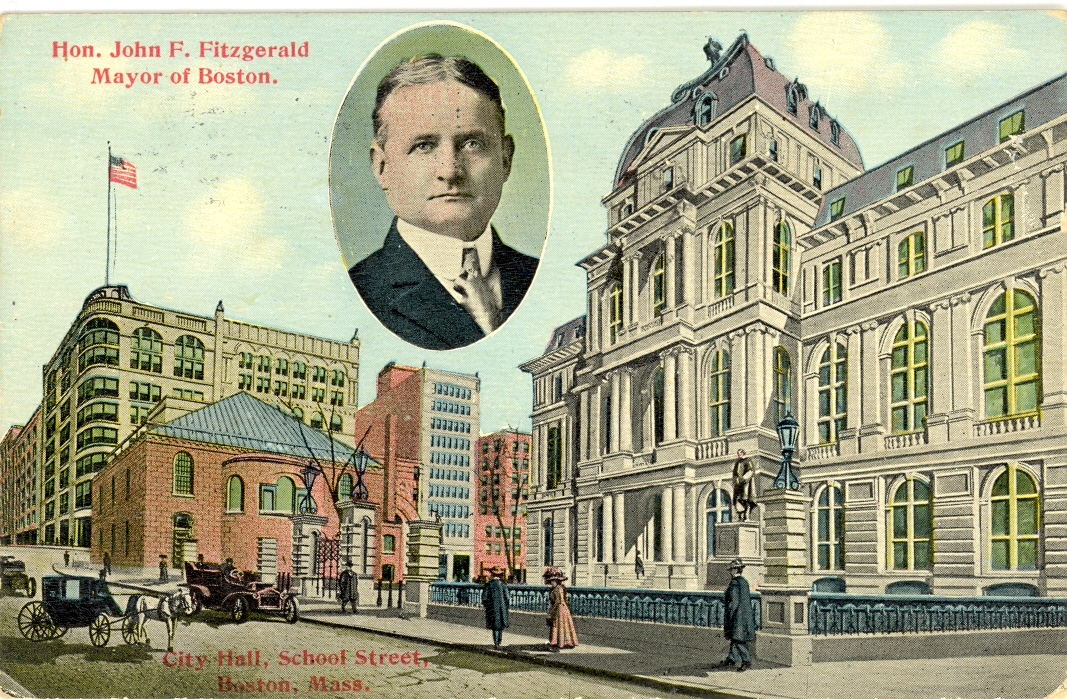 "This postcard is dated 1912 which was during Honey Fitz's second term as mayor. He dropped out of the 1914 race when his opponent, James Michael Curley, threatened to expose his relationship with a buxom cigarette girl named ""Toodles"" Ryan."