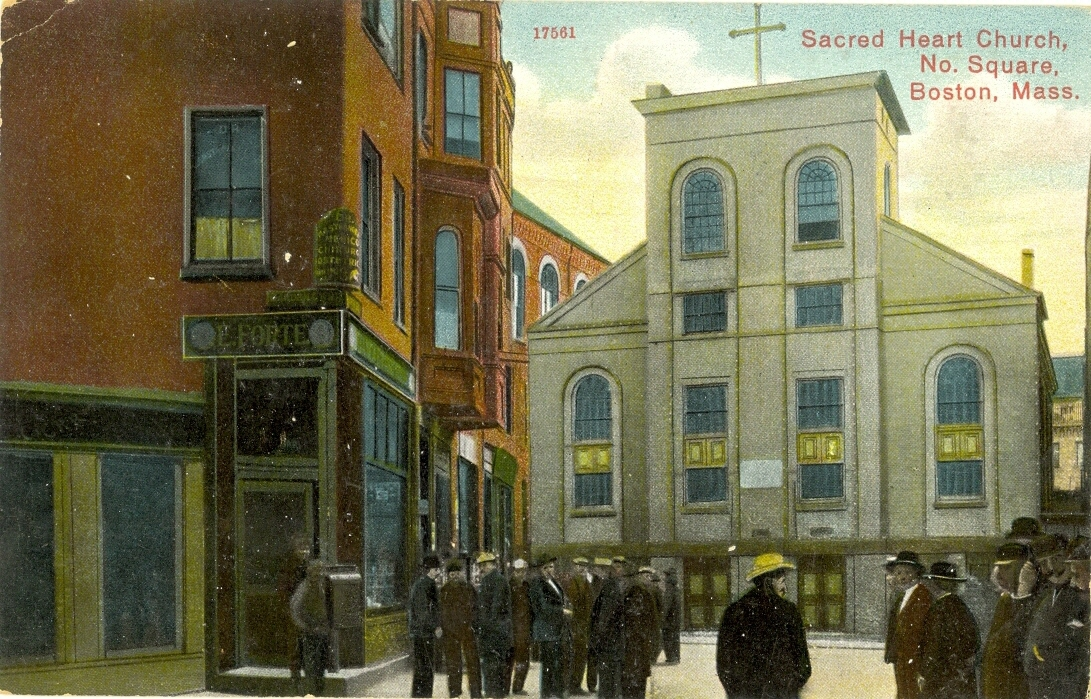 This postcard shows Sacred heart Church soon after it was purchased by the St. Mark's Society. It was Rev. Edward Taylors Seamen's Bethel since the 1830's.