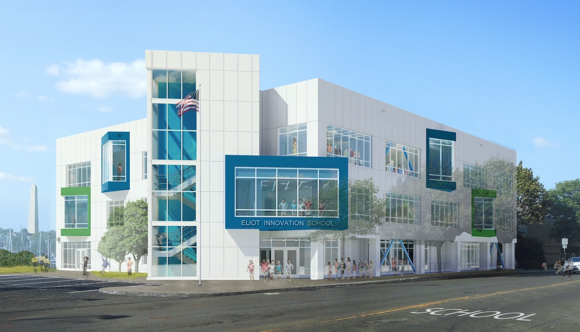 Exterior Rendering Of Eliot School At 585 Commercial Street (Boston Public  Schools)
