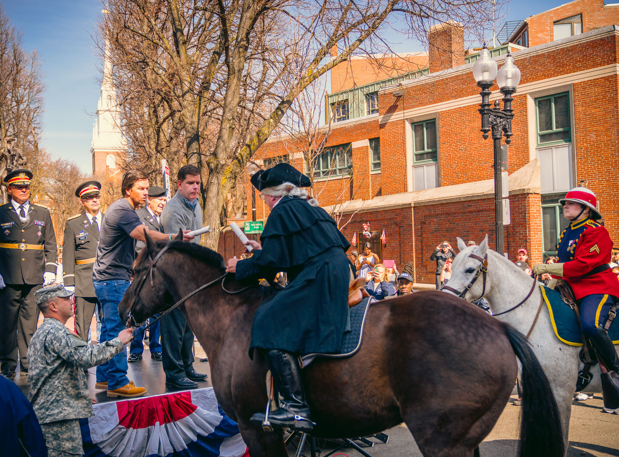 Bringing some Hollywood flair to the annual Patriot's Day re-enactment (Photo by Matt Conti).