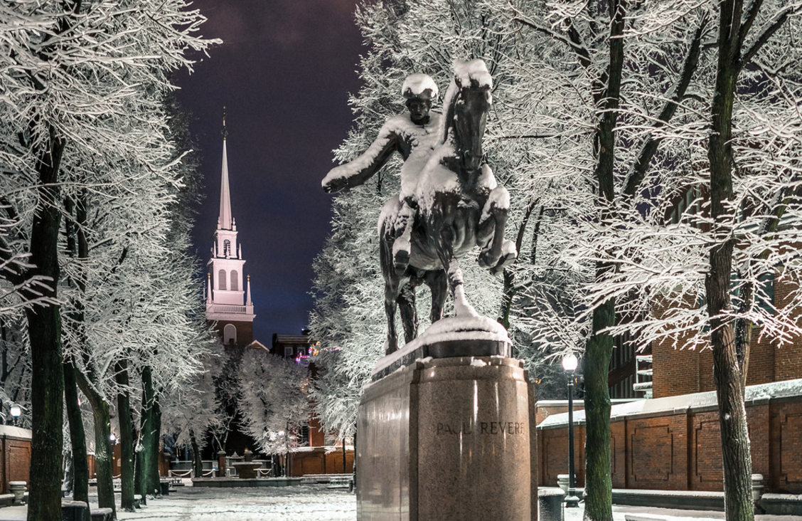 The Prado (Paul Revere Mall), shown here during one of the few snow events last winter, is the beneficiary of a surplus snow budget that will fund renovations. (Photo by Matt Conti)