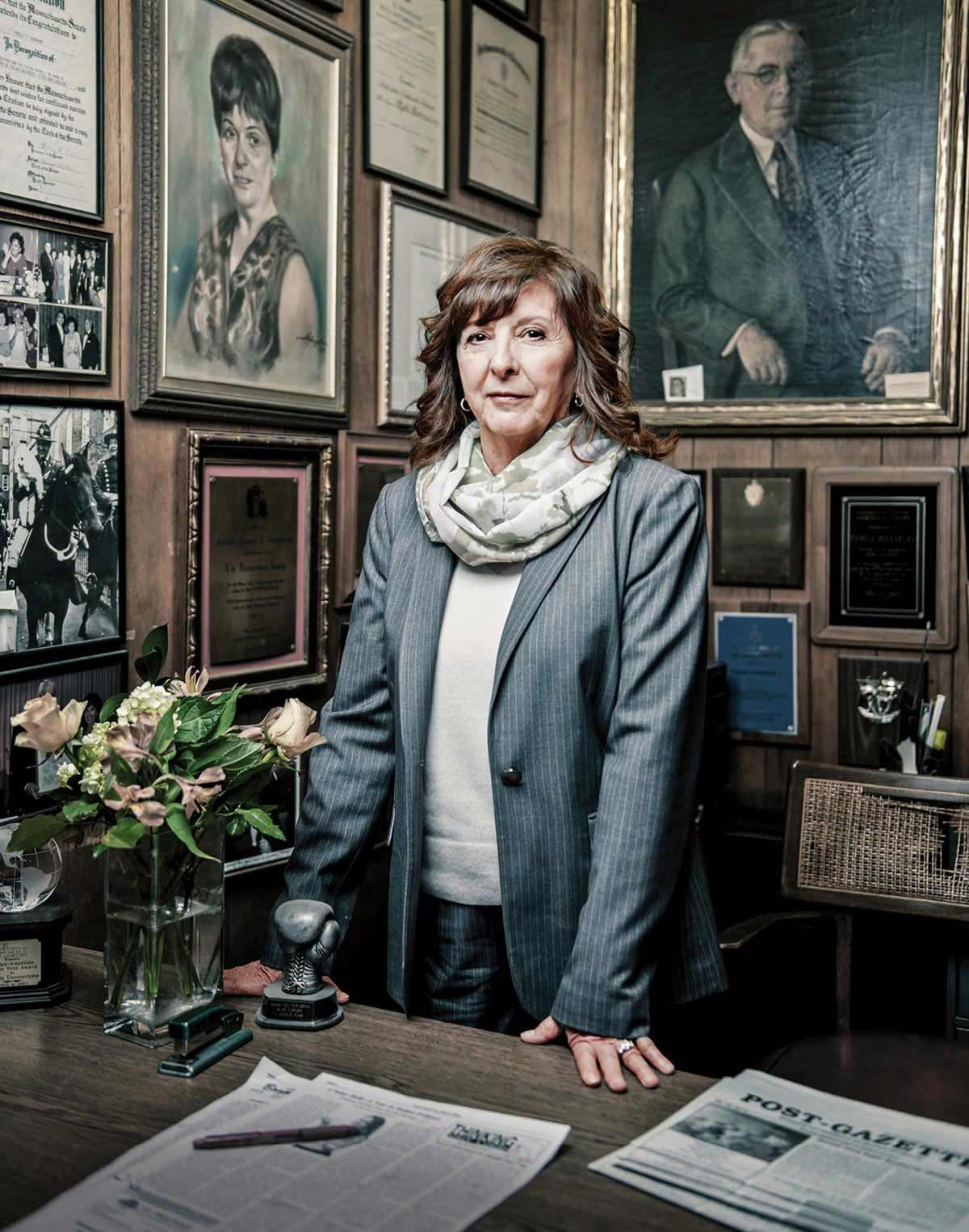 Post-Gazette's publisher and editor Pamela Donnaruma, photo by Webb Chappell.  Courtesy of Boston Magazine.