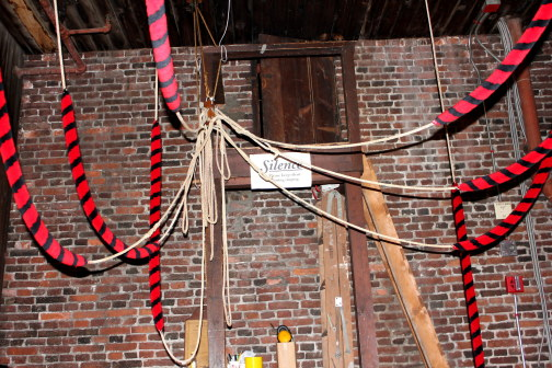 Ropes in the Bell Ringing Chamber inside Old North Church.