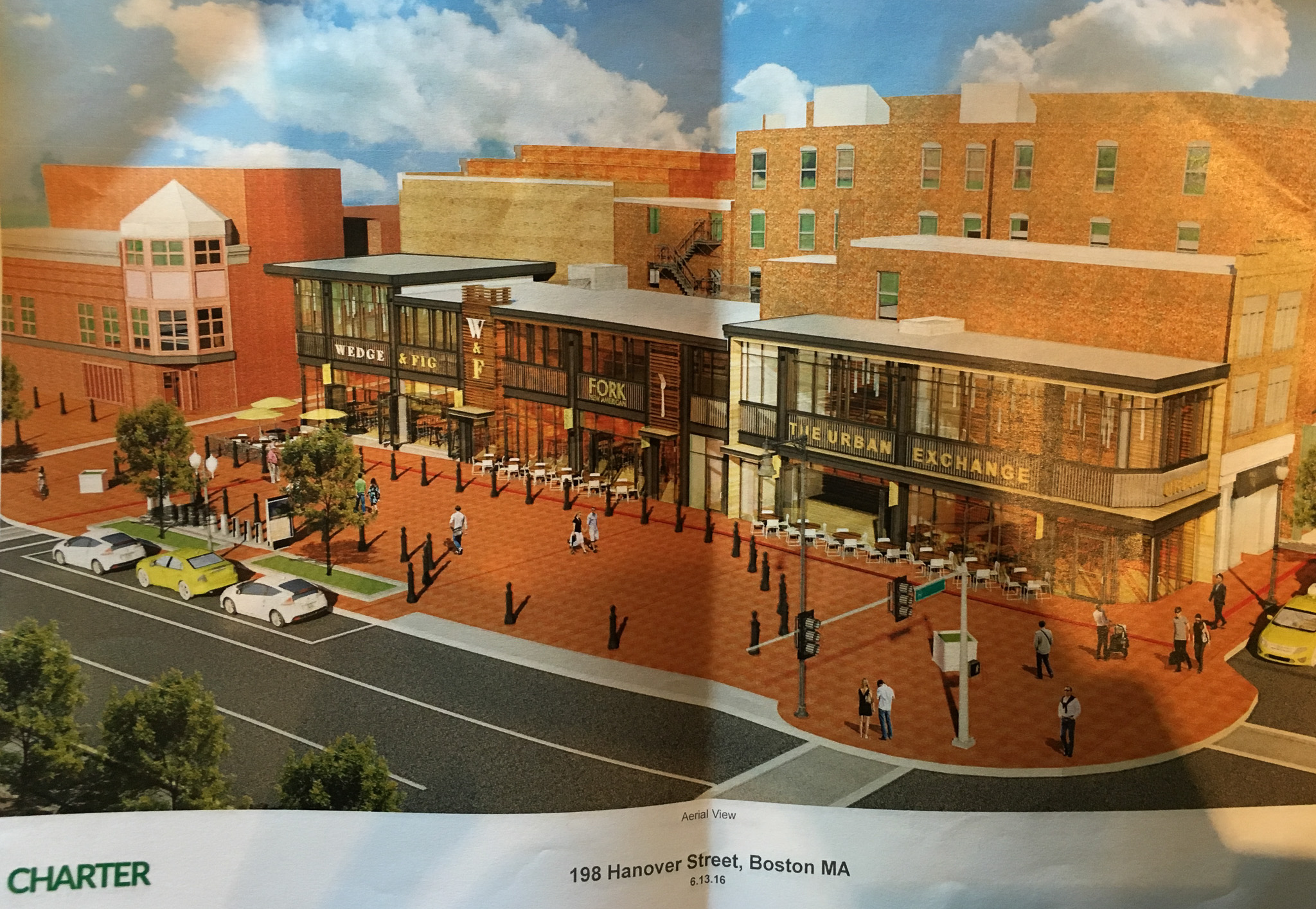 Proposed Cross Street Plaza at Hanover - Aerial View (Charter Realty Image)