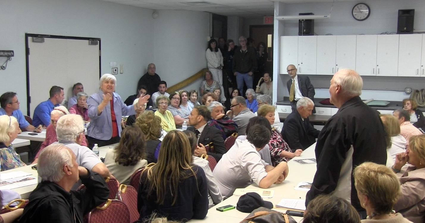 An overflowing crowd packed in the Nazzaro Community Center to discuss the proposed closing of the North End Nursing Home (NEWF Photo)