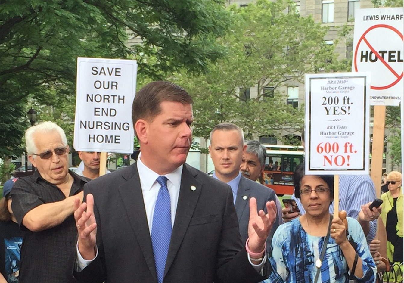 Mayor Marty Walsh speaks to North End / Waterfront residents at his annual coffee hour held at Christopher Columbus Park